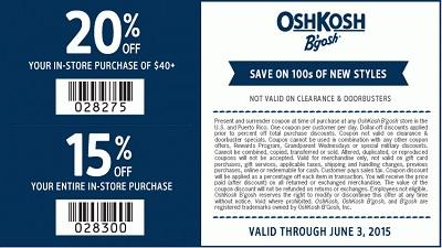 Coupon for: OshKosh B'gosh, Save on hundreds of new styles