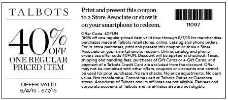 Coupon for: Talbots, in-store sale coupon
