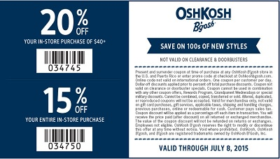 Coupon for: Sweet Savings from OshKosh B'gosh