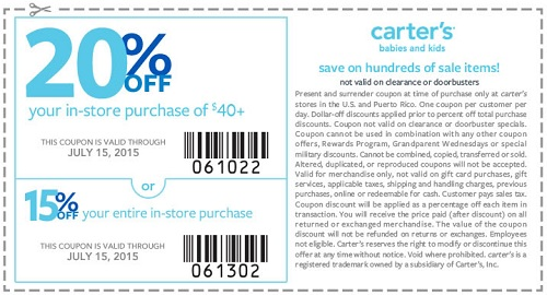 Coupon for: carter's, save with sale coupon