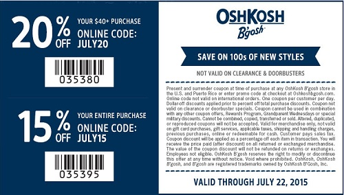 Coupon for: OshKosh B'gosh, Extra savings with sale coupon