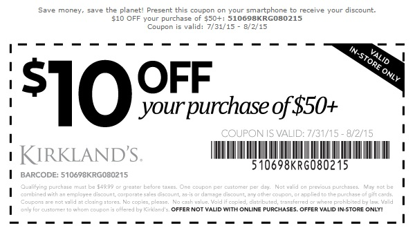 Coupon for: Kirkland's, Save with Printable Coupon