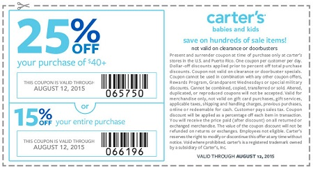 Coupon for: Final days great savings at carter's stores