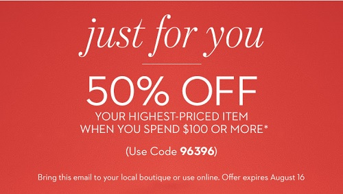 Coupon for: Chico's, 50% discount on highest-priced item