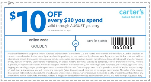 Coupon for: Last day of exclusive offer at carter's