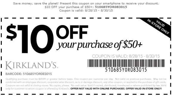 Coupon for: Last day to save with printable coupon at Kirkland's