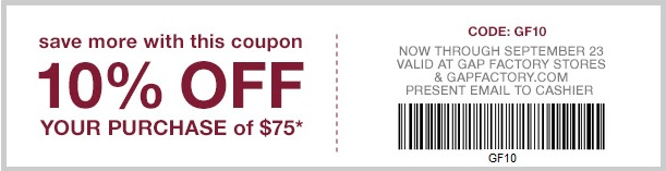 Coupon for: Huge Fall sale at Gap Factory