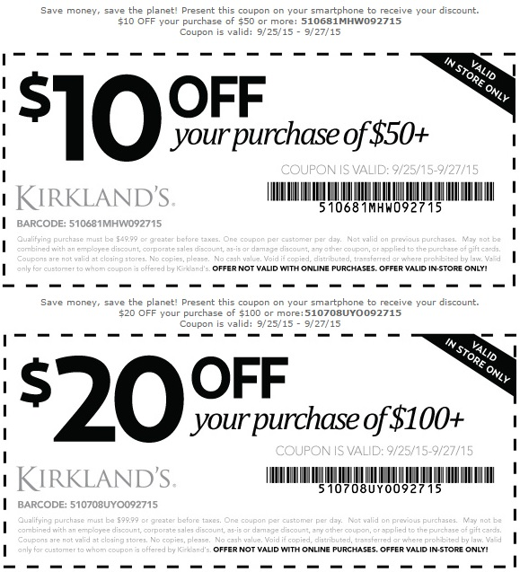 Coupon for: 2 ways to save money at Kirkland's stores