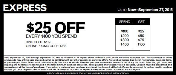 Coupon for: Spend more, save more at Express stores
