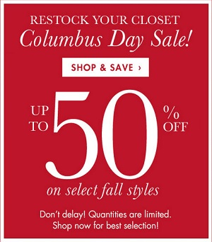 Coupon for: Columbus Day Weekend SALE  at Coldwater Creek