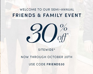 Coupon for: Friends & Family Event started at Cole Haan