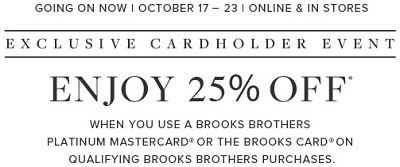 Coupon for: Fall for savings at Brooks Brothers