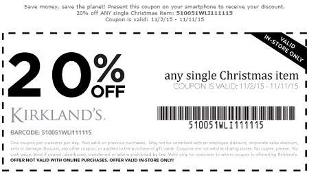Coupon for: Extra discount on any Christmas item at Kirkland's