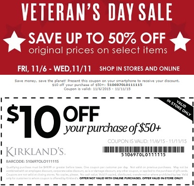 Coupon for: Veteran's Day Sale 2015 from Kirkland's