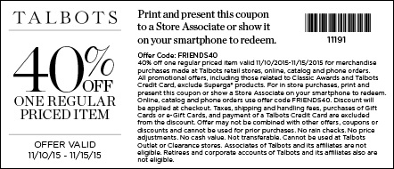 Coupon for: Friends & Family Event from Talbots just got better