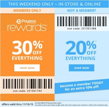 Coupon for: Black Friday Preview Weekend at Payless ShoeSource