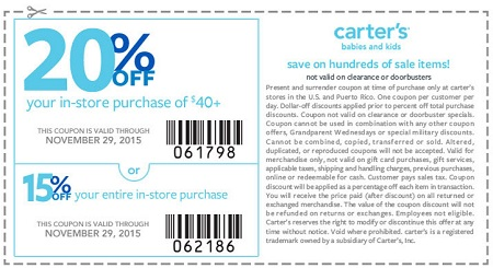 Coupon for: Pre-Black Friday Savings with printable coupon at carter's
