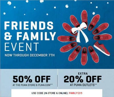 Coupon for: PUMA's Friends & Family Event is still on