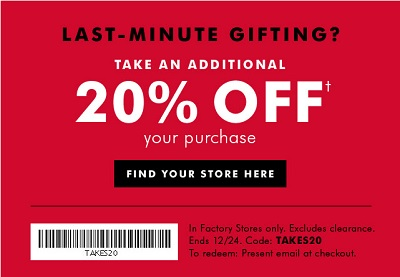 Coupon for: Printable coupon from Banana Republic Factory Stores