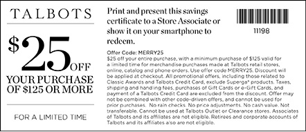 Coupon for: Shopping with printable coupon from Talbots