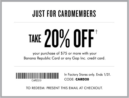 Coupon for: Save money at Banana Republic Factory Store locations