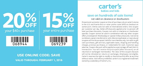 Coupon for: Save money on carters childrens clothing
