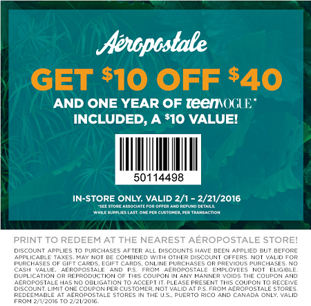 Coupon for: Spend less and get more fashion at Aéropostale
