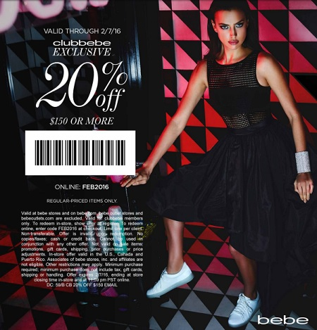 Coupon for: Last hours to save at bebe store locations