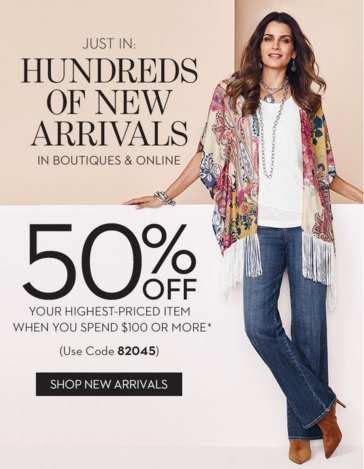 Coupon for: New arrivals available at Chico's store locations