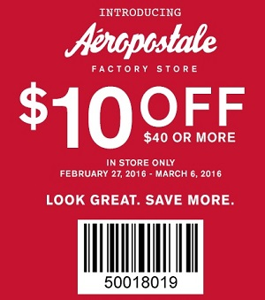 Coupon for: Save with printable coupon at Aéropostale
