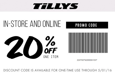 Coupon for: Save with printable coupon at Tilly's stores