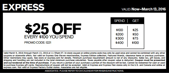 Coupon for: More you spend, more you save at Express locations