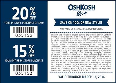 Coupon for: Save with OshKosh B'gosh printable coupon