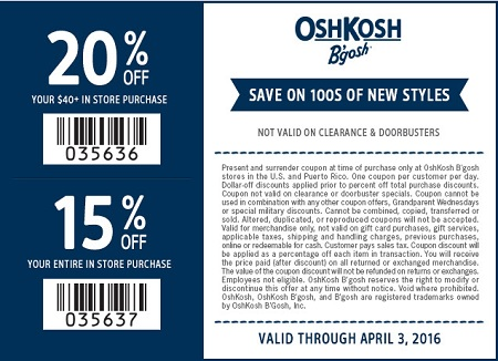 Coupon for: Save with printable coupon at OshKosh B'gosh stores