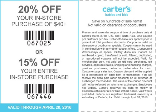 Coupon for: Last day to redeem printable coupon at carter's