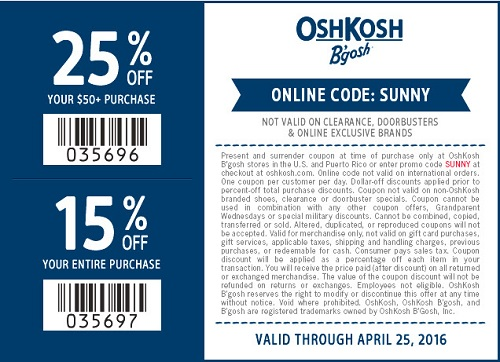 Coupon for: Sweet savings from OshKosh B'gosh