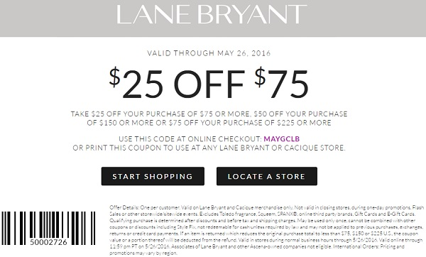 Lane Bryant Coupons 75 Off 225