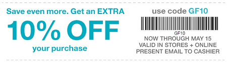 Coupon for: Save even more money at Gap Factory