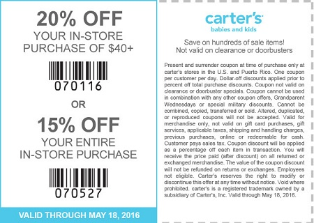 Coupon for: Save with printable coupon at carter's stores
