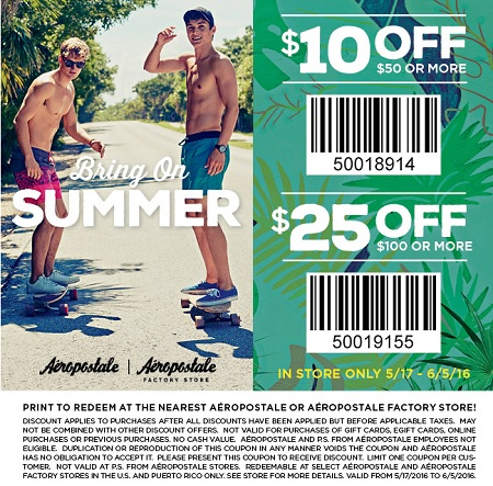Coupon for: Shop More Save More at Aéropostale stores