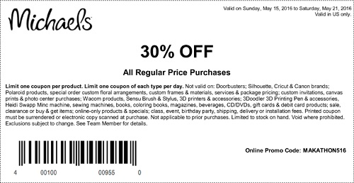 Coupon for: Shop with coupon from U.S. Michaels