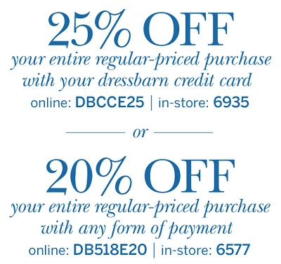 Dressbarn in store coupons