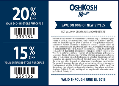 Coupon for: Redeem printable coupon at OshKosh B'gosh store