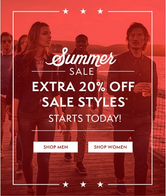 Coupon for: Summer sale at Timberland stores and online