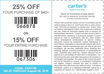 Coupon for: Save big at U.S. carter's stores