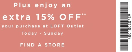 Coupon for: Redeem printable coupon at LOFT Outlets