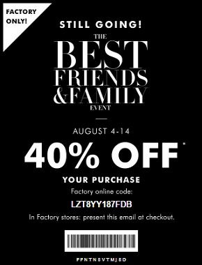Coupon for: Friends & Family Event at Banana Republic Factory