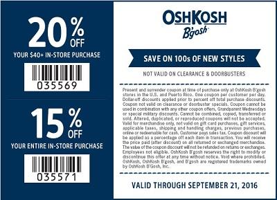 Coupon for: Extra savings at U.S. OshKosh B'gosh