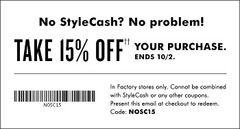 Coupon for: Redeem StyleCash at Banana Republic Factory stores