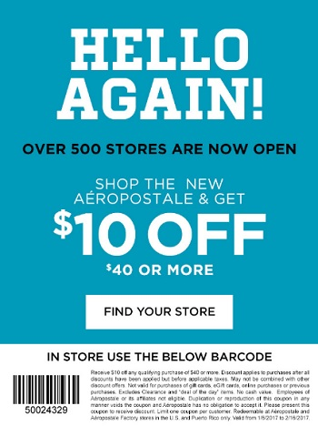 Coupon for: Shop with printable coupon at U.S. Aéropostale stores